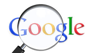 The image contains illustration of Google logo and magnification glass on top of it