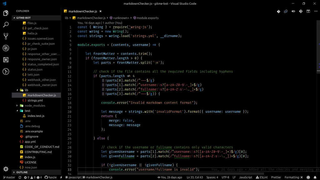 Image illustrates the instance of running Visual Studio code using high contrast theme.